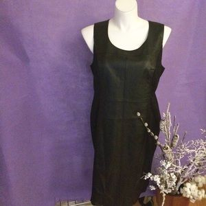PLUS BLACK STRETCH & FAUX LEATHER SLEEVELESS DRESS